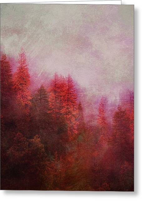 Greeting Card featuring the digital art Dreamy Autumn Forest by Klara Acel
