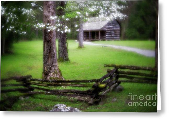 Dreamy Cabin Greeting Card by Todd Bielby