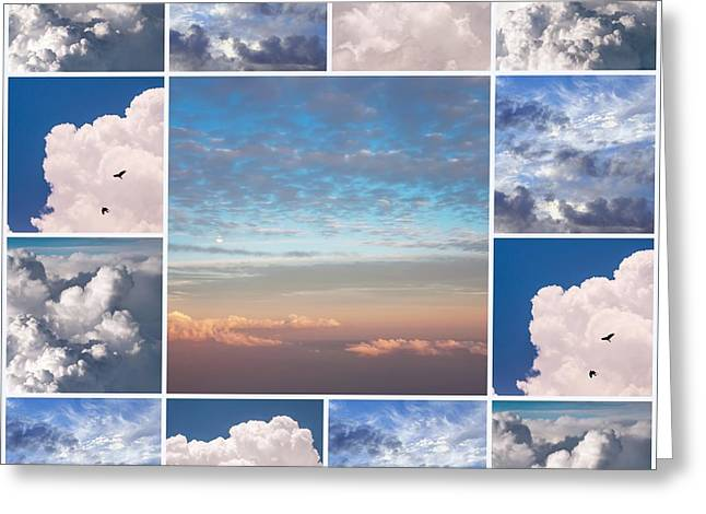 Greeting Card featuring the photograph Dreamy Clouds Collage by Jenny Rainbow