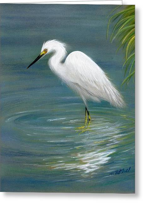 Dreamy Egret Greeting Card by Heather Mitchell