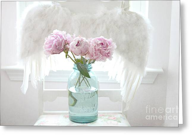 Dreamy Ethereal Angel Wings Pink Peonies Vintage Mason Aqua Blue Ball Jar - Shabby Chic Pink Peonies Greeting Card by Kathy Fornal