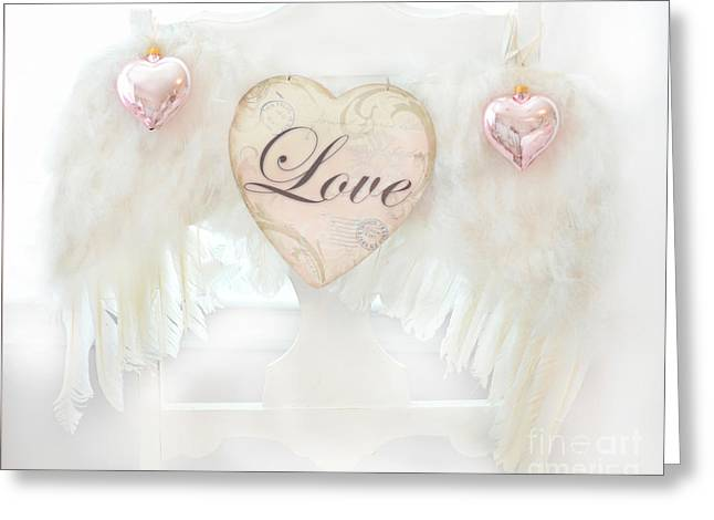 Dreamy Ethereal White Angel Wings Romantic Love Heart - Valentine Love Heart Pink White Angel Wings  Greeting Card