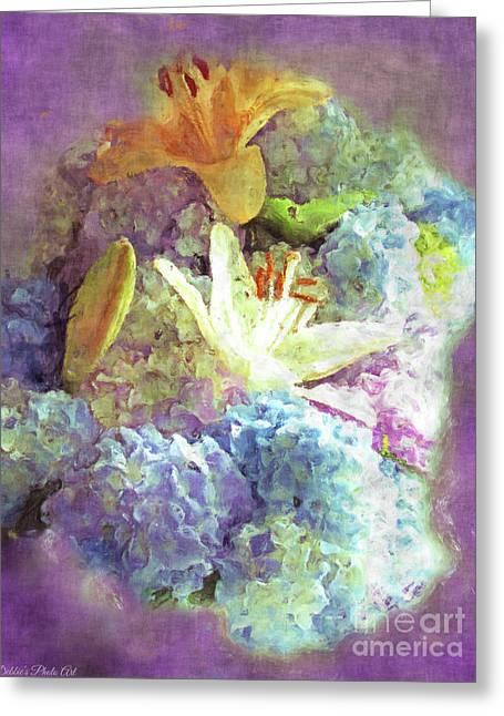 Dreamy Hydrangeas And Lilies - Digital Paint Greeting Card