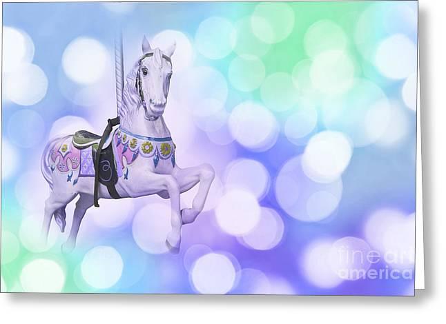 Dreamy Pastel Blue Carousel Horse Greeting Card by Delphimages Photo Creations