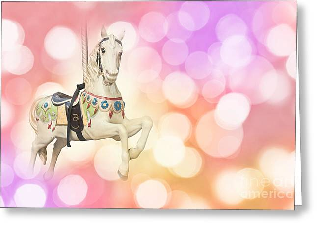 Dreamy Pastel Pink Carousel Horse. Greeting Card by Delphimages Photo Creations