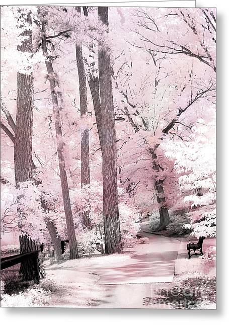 Dreamy Pink And White Infrared Park Woodlands- Infrared Pink Trees Park Bench Landscape Greeting Card by Kathy Fornal