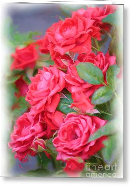 Dreamy Red Roses - Digital Art Greeting Card by Carol Groenen