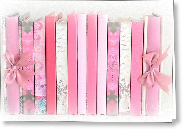Book Print Greeting Cards - Dreamy Romantic Pink Books Collection - Shabby Chic Cottage Baby Nursery Pastel Pink Books Greeting Card by Kathy Fornal
