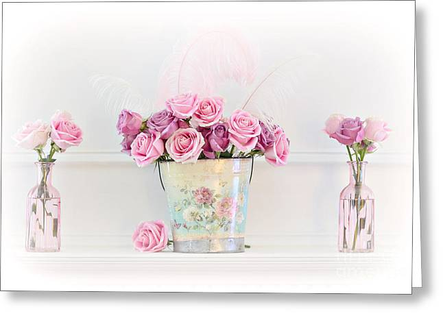 Dreamy Romantic Pink Roses -  Shabby Chic Pink Roses Still Life Greeting Card by Kathy Fornal