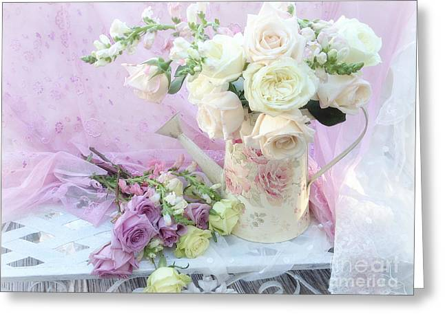 Dreamy Romantic Shabby Chic Spring Roses - Spring Romantic Bouquet Of Roses - Shabby Chic Floral Art Greeting Card by Kathy Fornal