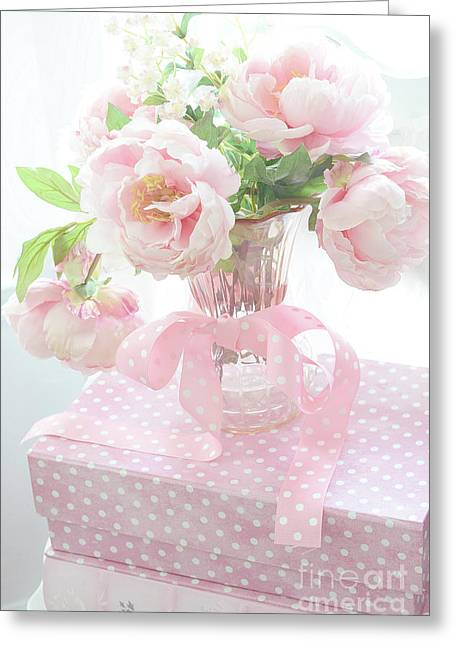 Dreamy Shabby Chic Cottage Pink Peonies In Vase - Romantic Pink Peonies Floral Bouquet Greeting Card