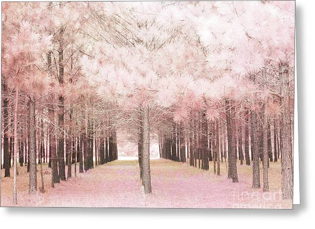 Dreamy Shabby Chic Pink Nature Pink Trees Woodlands - Pink Nature Nursery Prints Decor Greeting Card