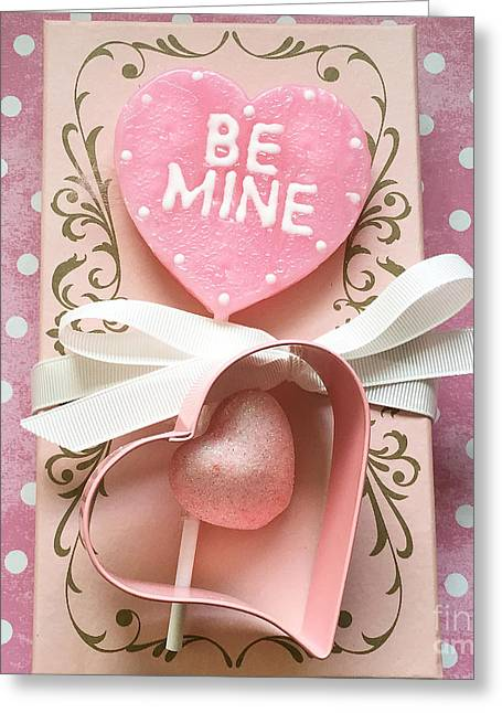 Shabby Chic Pink Valentine Heart - Be Mine - Valentine Romantic Pink White Hearts Decor Greeting Card by Kathy Fornal