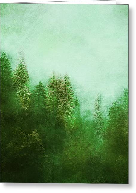 Greeting Card featuring the digital art Dreamy Spring Forest by Klara Acel