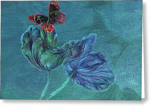 Dreamy Tulip With Gemlike Butterfly Greeting Card