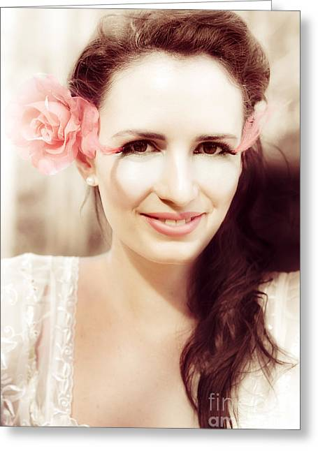 Dreamy Vintage Portrait Greeting Card