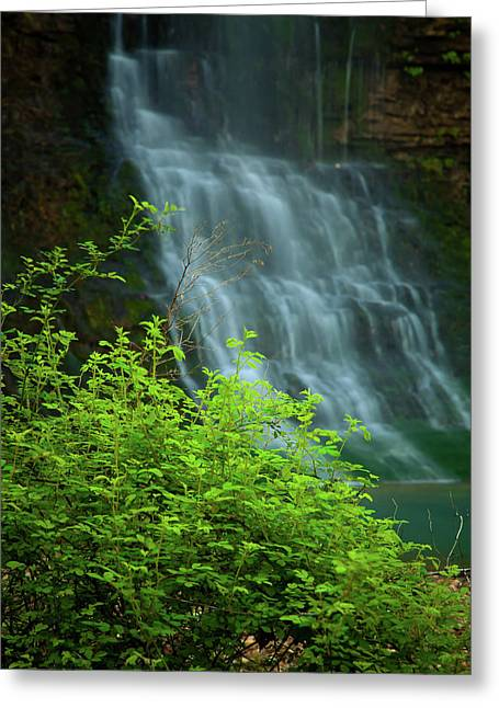 Dreamy Landscape Greeting Cards - Dreamy Waterfalls Greeting Card by Iris Greenwell