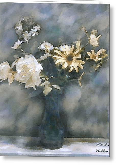 Dreamy White Roses Greeting Card