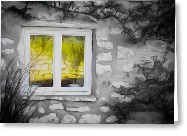 Dreamy Window Greeting Card by Carol Crisafi
