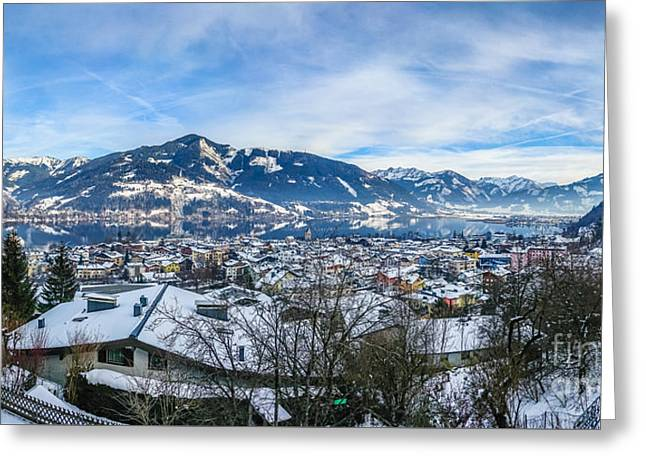 Dreamy Winter Village And Mountain Lake Greeting Card