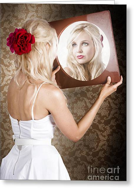 Dreamy Woman Looking At Mirror Reflection Greeting Card by Jorgo Photography - Wall Art Gallery