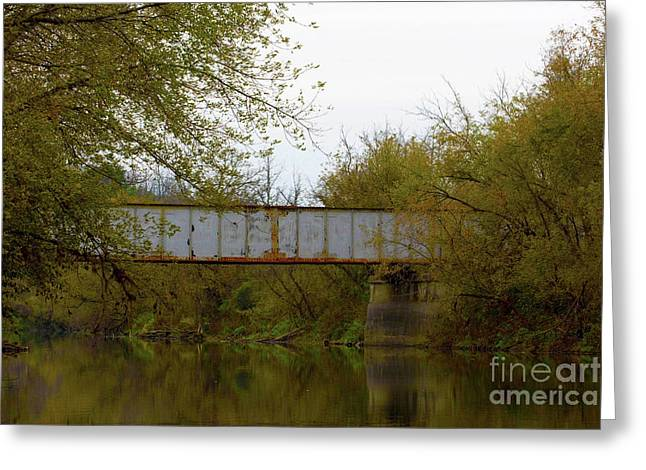 Dreary Bridge Dreary Day Greeting Card by Alan Look