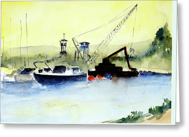 Dredging At Marin Yacht Club Greeting Card