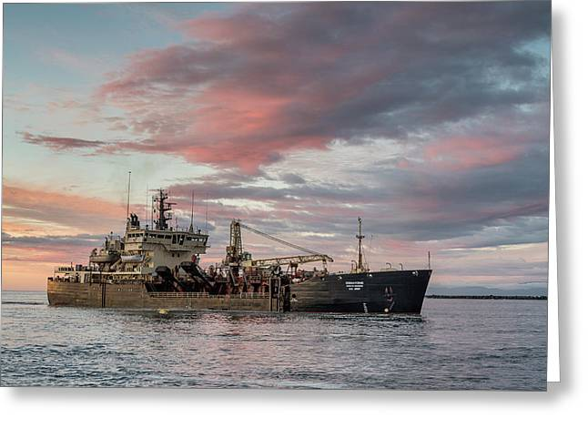 Greeting Card featuring the photograph Dredging Ship by Greg Nyquist