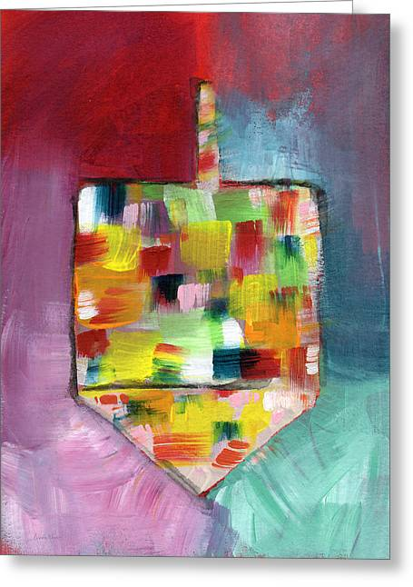Dreidel Of Many Colors- Art By Linda Woods Greeting Card by Linda Woods