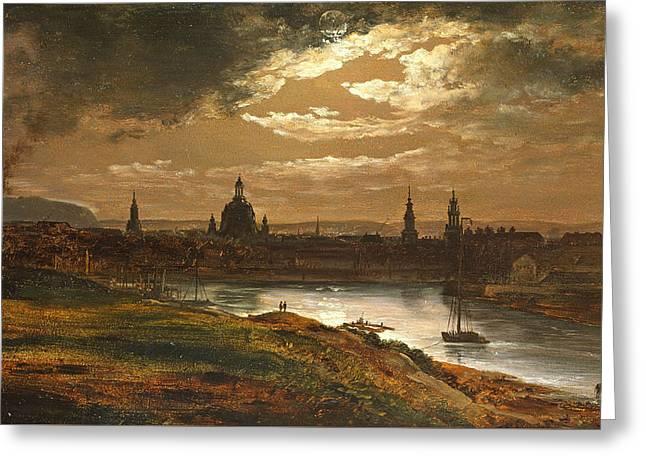 Dresden By Moonlight Greeting Card by Johan Christian Dahl