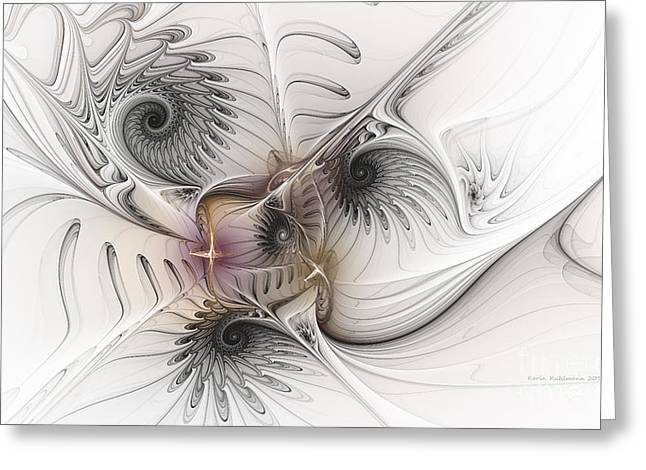 Greeting Card featuring the digital art Dressed In Silk And Satin by Karin Kuhlmann