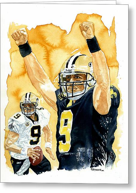Drew Brees - Champion Greeting Card by George  Brooks