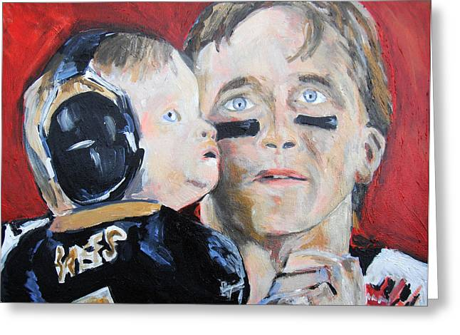 Drew Brees And Son  Greeting Card by Jon Baldwin  Art