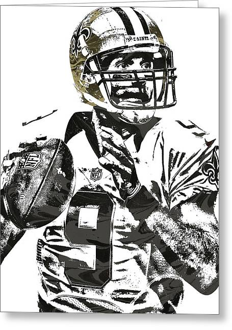 Drew Brees New Orleans Saints Pixel Art 1 Greeting Card by Joe Hamilton