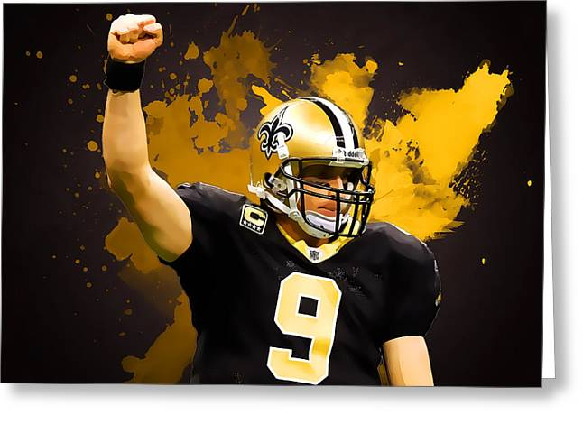 Drew Brees Greeting Card by Semih Yurdabak