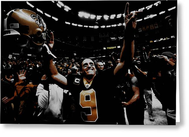 Drew Brees Super Bowl Victory Greeting Card by Brian Reaves