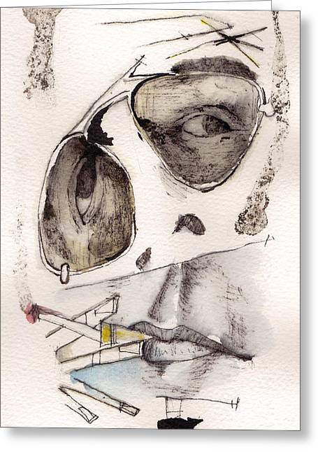 Expressionist Greeting Cards - Dr.Gonzo as Hunter S. Thompson Greeting Card by Mark M  Mellon