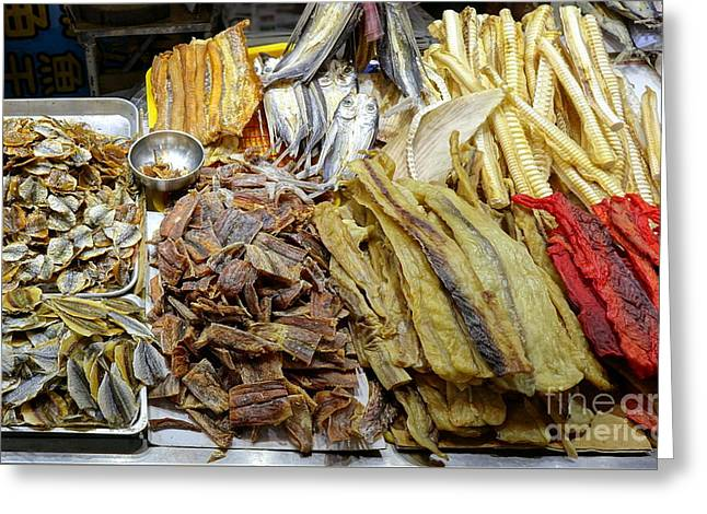 Greeting Card featuring the photograph Dried Fish Is Sold At The Market by Yali Shi