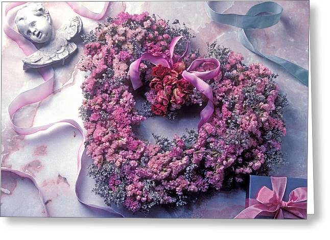 Ribbon Photographs Greeting Cards - Dried flower heart wreath Greeting Card by Garry Gay