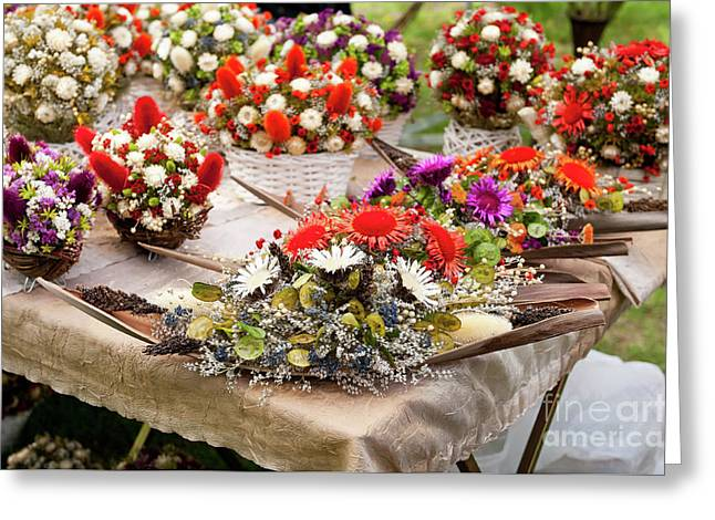 Dried Flowers Arrangements At Fair Greeting Card by Arletta Cwalina