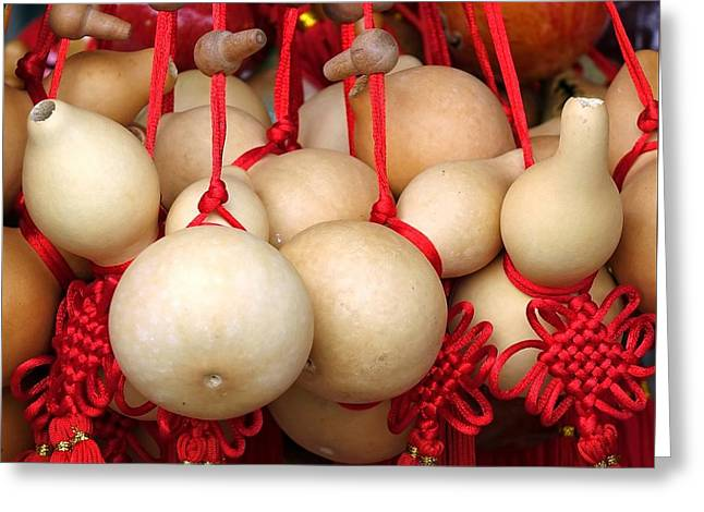 Dried Gourds With Red Tassels Greeting Card