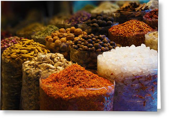 Dried Herbs, Flowers , Spices In The Souk At Deira In Dubai Greeting Card by Art Spectrum