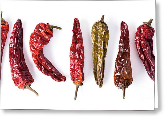 Dried Peppers Lined Up Greeting Card