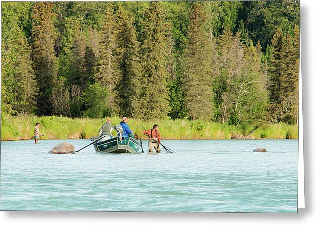 Drift Boat Fishing The Kasilof Greeting Card
