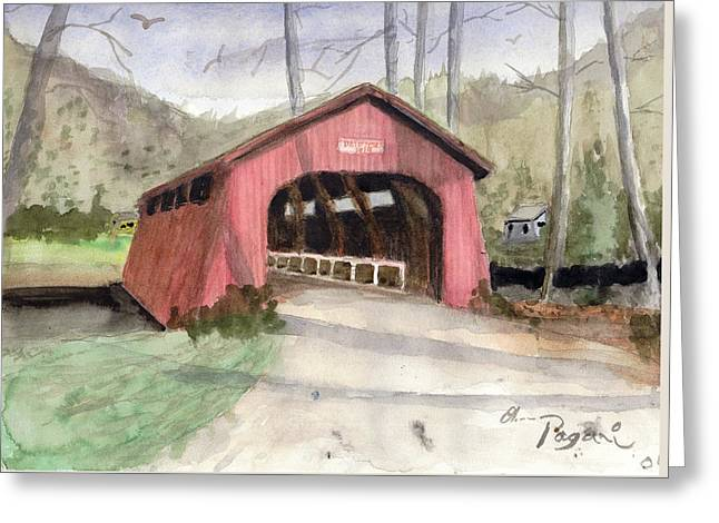 Drift Creek Covered Bridge Watercolor Greeting Card