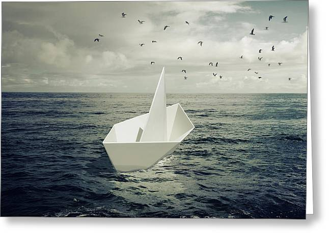Greeting Card featuring the photograph Drifting Paper Boat by Carlos Caetano