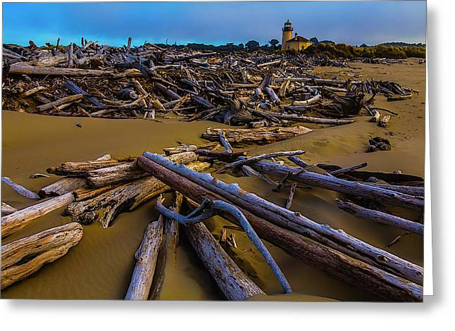 Driftwood And Coquille River Lighthouse, Greeting Card by Garry Gay