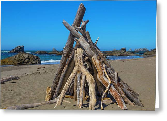 Driftwood Teepee Oregon Coast Greeting Card by Garry Gay