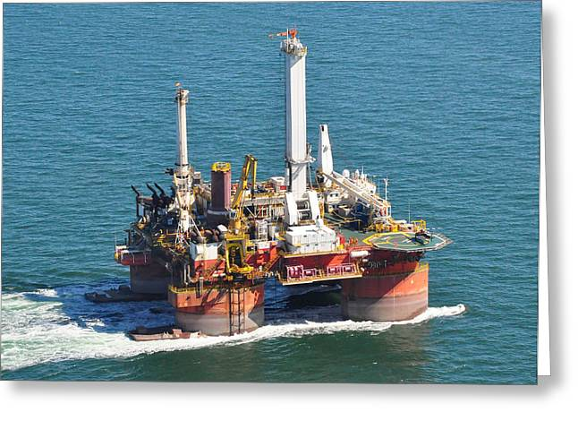 Drilling Rig Greeting Card by Bill Perry