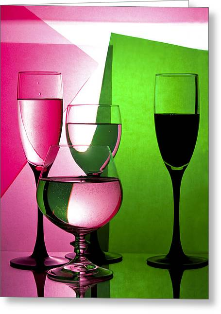 Drink  In Wine Glasses Greeting Card